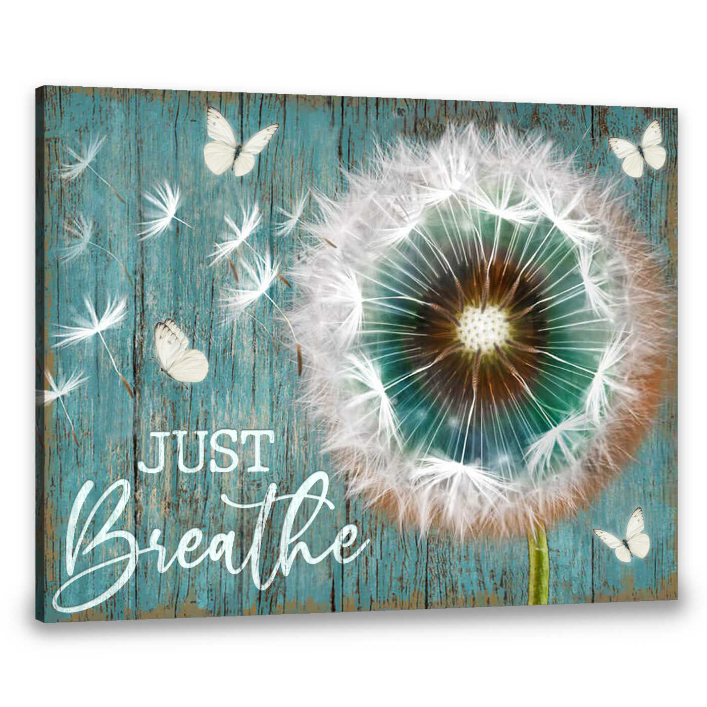 Canvas Dandelion And Butterfly Just Breathe