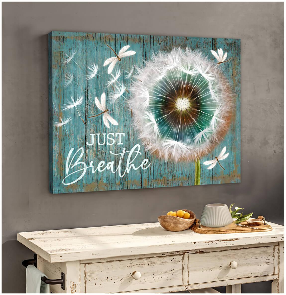 Canvas Dandelion & Dragonfly Just Breathe