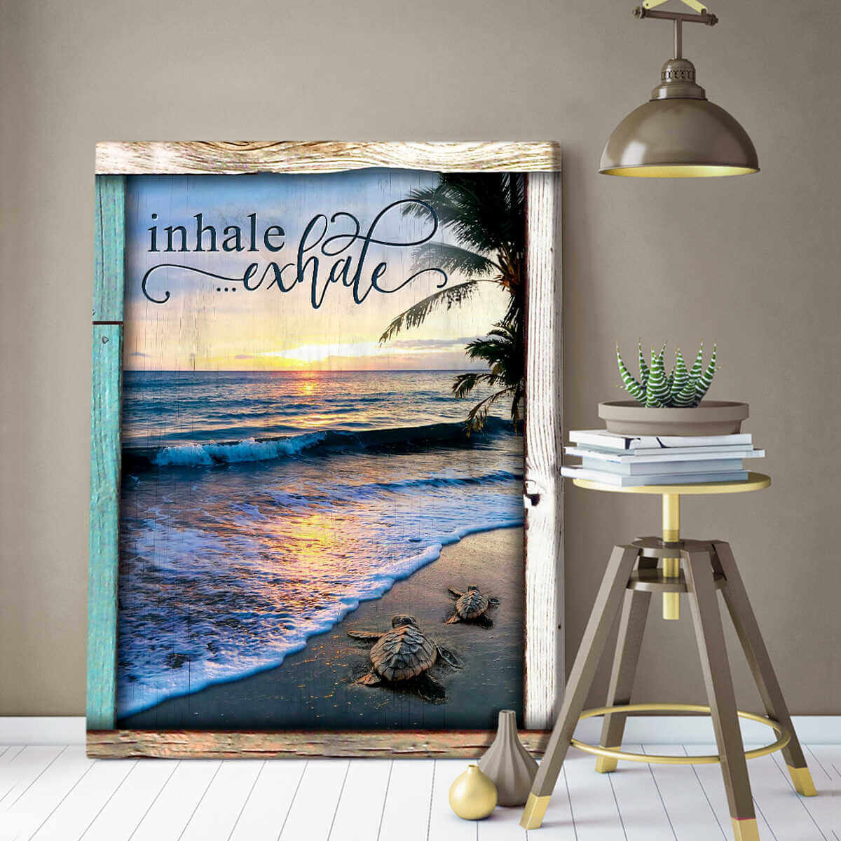 Ohcanvas Top 10 Beautiful Beach Canvases Inhale Exhale Turtles And Beach Wall Art Decor