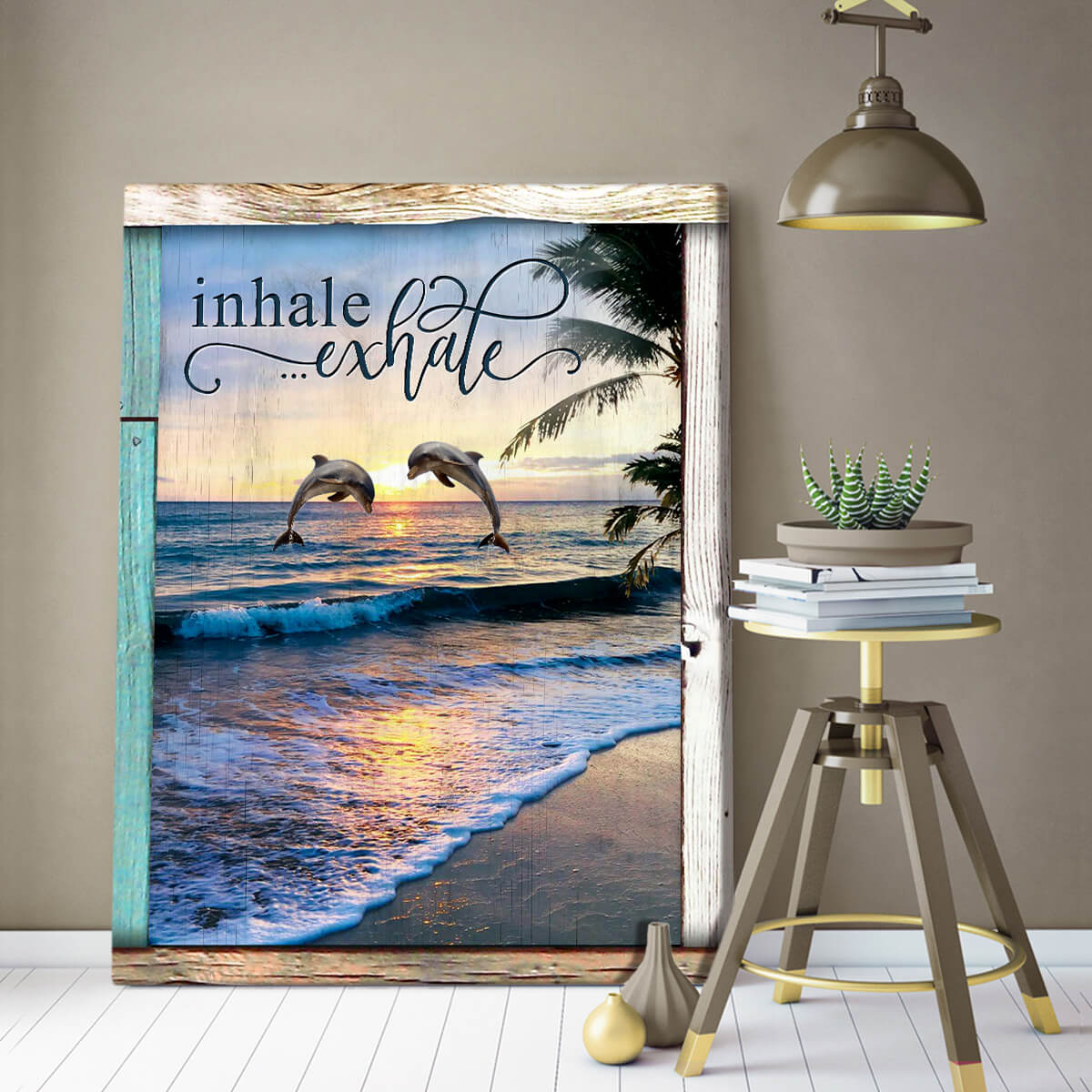 Ohcanvas Top10 Beautiful Beach Wall Art Decor Inhale Exhale Dolphin Canvas