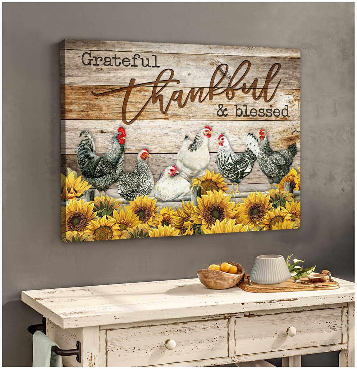 Ohcanvas Farm Farmhouse Chicken Canvas Grateful Thankful Blessed Wall Art Decor