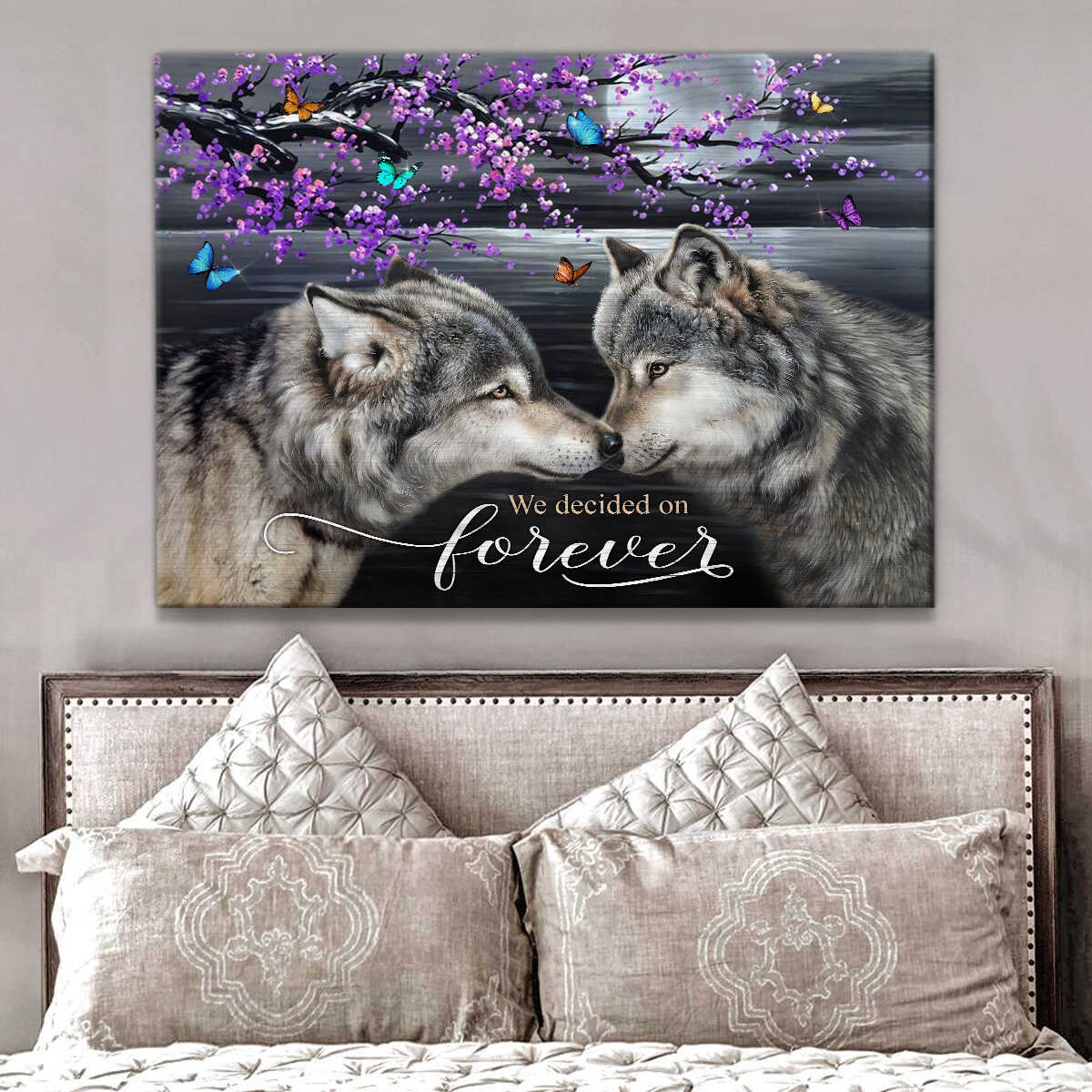 Ohcanvas We Decided On Forever Wolf Couple Canvas Wall Art Decor Gift For Him Gift For Her