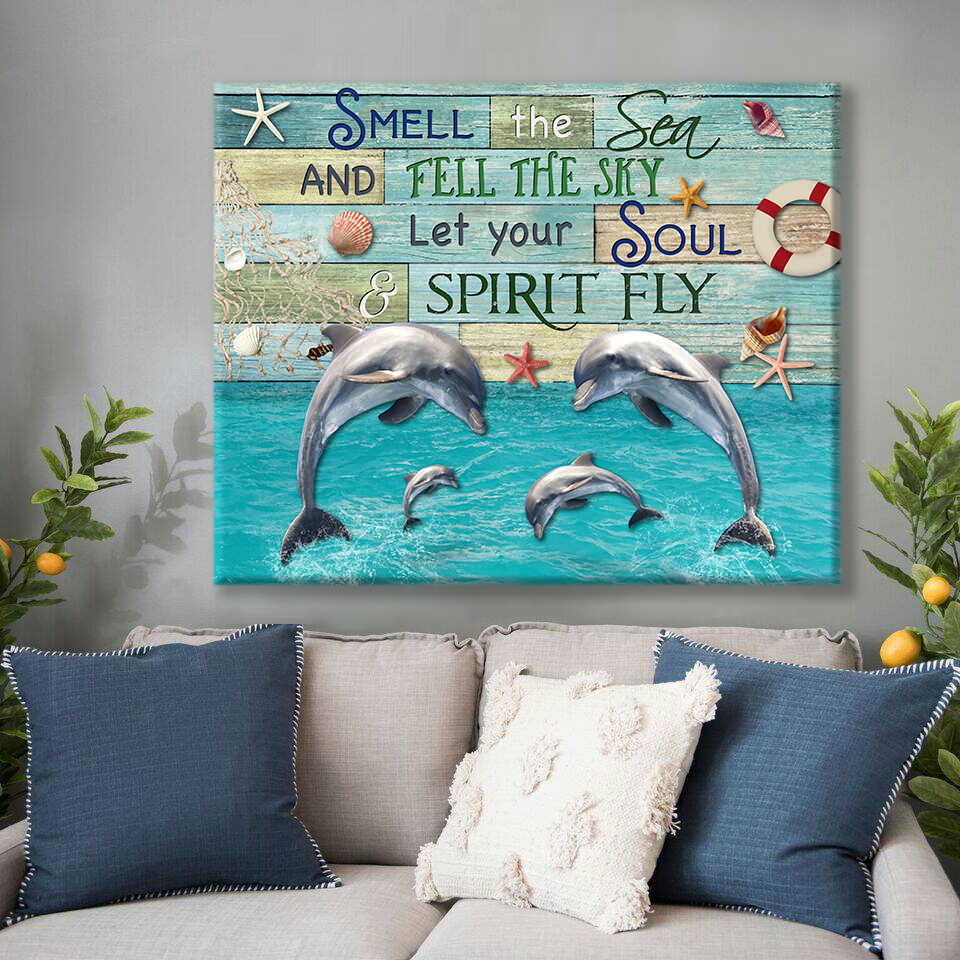 Ohcanvas Smell The Sea Dolphins Coastal House Wall Art Decor