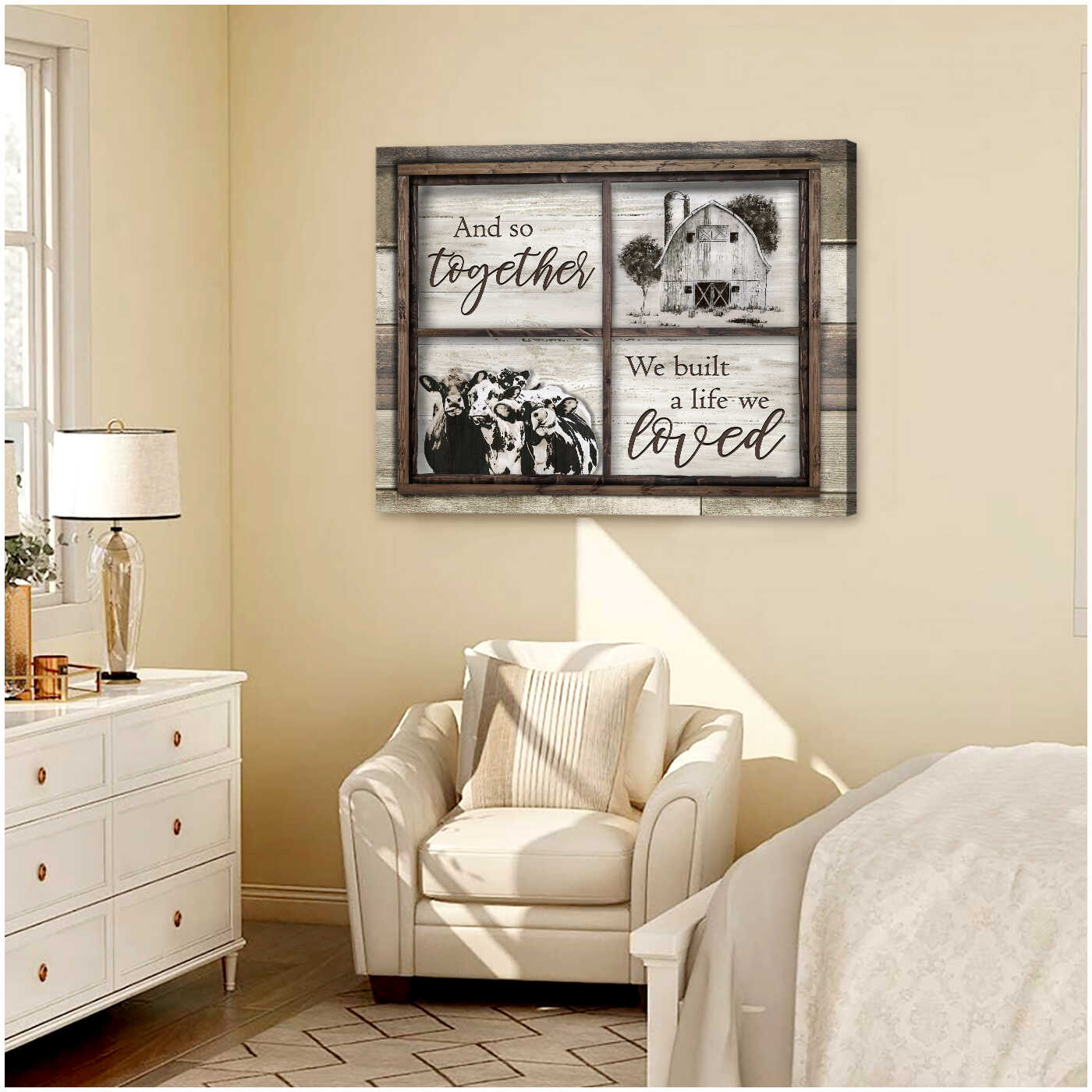 Ohcanvas Window Farm And Cows And So Together We Built A Life We Loved Farmhouse Canvas Wall Art Decor