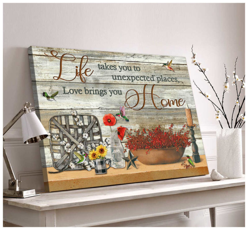 Ohcanvas Farmhouse And Hummingbirds Life Takes You To Unexpected Places, Love Brings You Home Canvas Wall Art Decor
