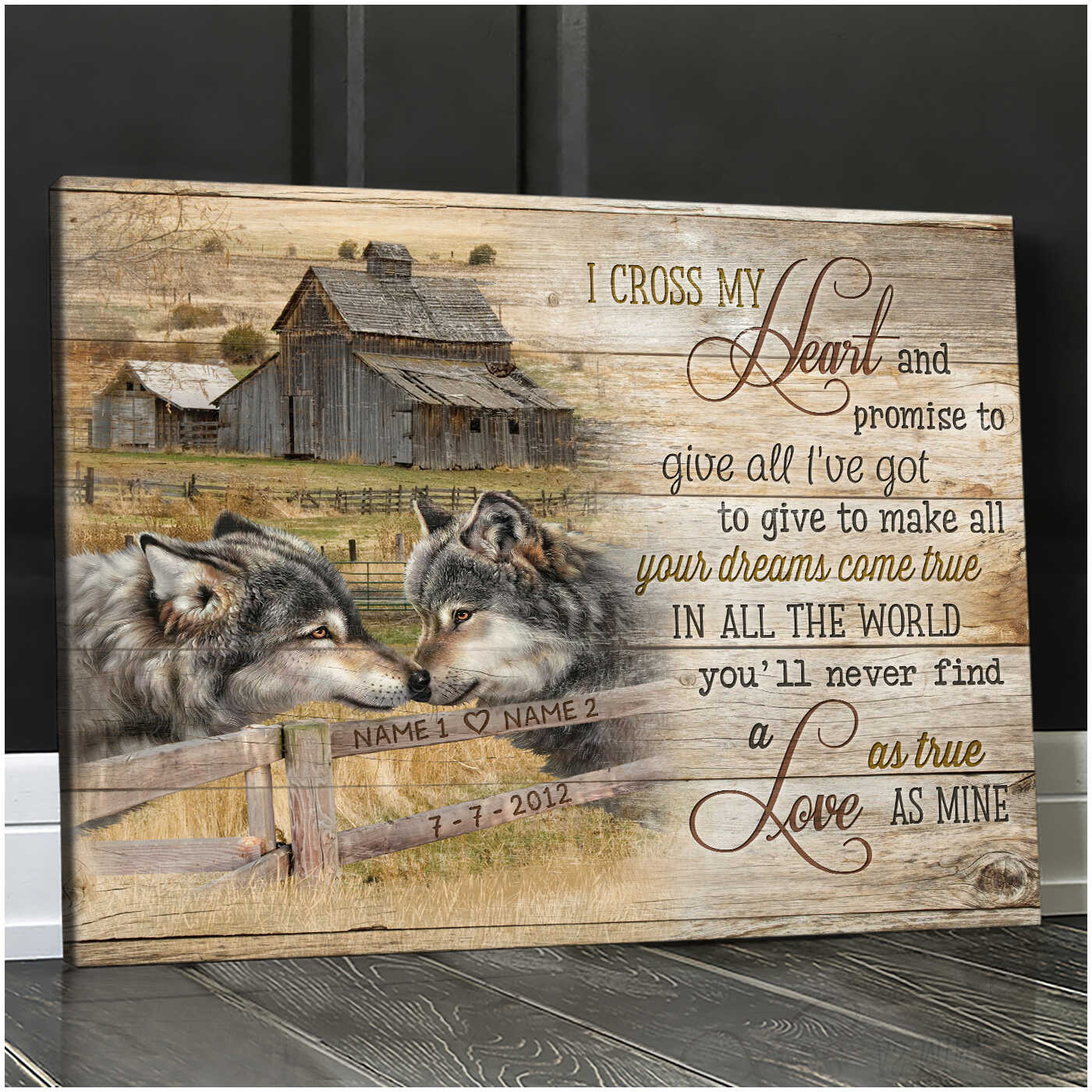 Custom Canvas Prints Personalized Gift For Anniversary I Cross My Heart Loving Wolf Wall Art Decor Ohcanvas